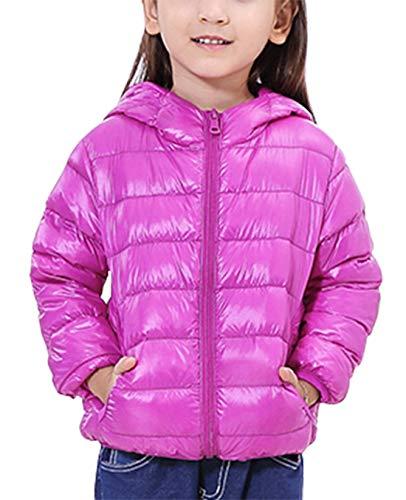 Happy Cherry Kinder Junge Mädchen Ultraleichte Daunenjacke mit Kapuze Unisex Kinder Winterjacke Herbst Winter Jacket Warme Steppjacke tragbar Daunenmantel in Lila Größe 100 cm