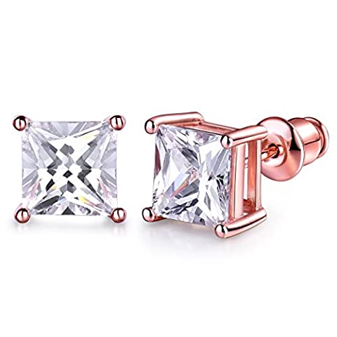 GULICX 7mm Stone Diamante CZ Square Pierced Studs Rose Gold Electroplated Earrings Men Women