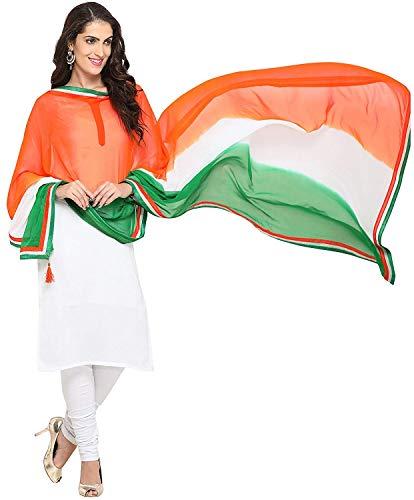 Women's Soft Chiffon Solid Dupatta (TRG - Border) Tricolour - Super Tiranga - 1 PCS
