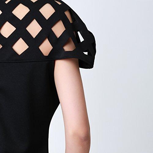 CHIC-CHIC-Chemisier Femme Dentelle T-shirt Bustier Manches Courtes Mousseline de Soie Épaules Nus Crochet Top Blouse Noir