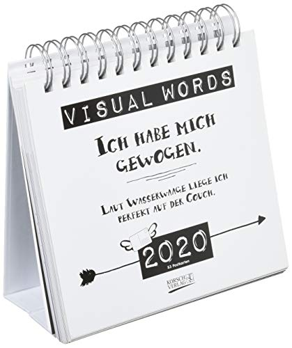 Visual Words 2020: Aufstellbarer Typo-Art Postkartenkalender. Jede Woche ein neuer Spruch