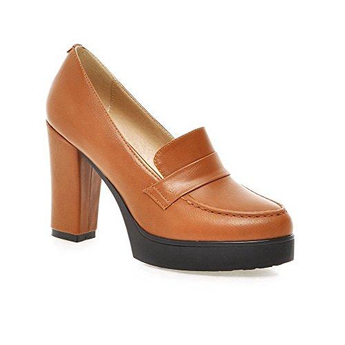 AllhqFashion Damen Weiches Material Rund Schließen Zehe Hoher Absatz Rein Pumps Schuhe Gelb