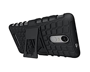RockZone Hard Armor Hybrid Rubber Bumper Flip Stand Rugged Back Case Cover for Xiaomi Mi5 - Black