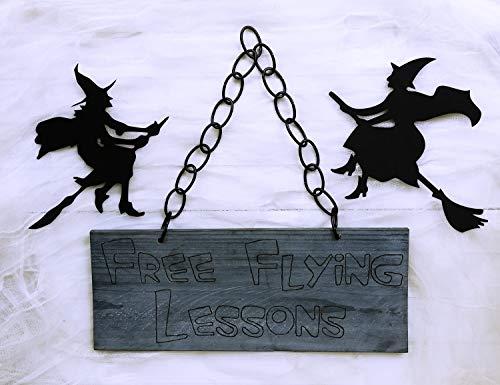 CPWood Halloween-Foto-Requisite, Holzschild, Halloween, Hexe, Dekoration, Holzgebranntes Schild Hexenbesen