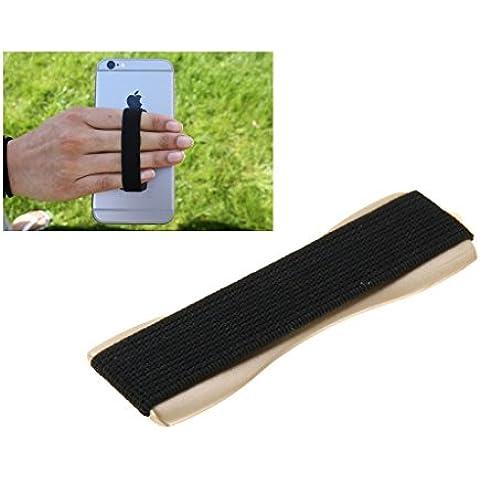 Fone-Stuff dedo elástico teléfono agarre titular fácil selfie para iPhone smartphones ipad, tablet y enciende (oro)