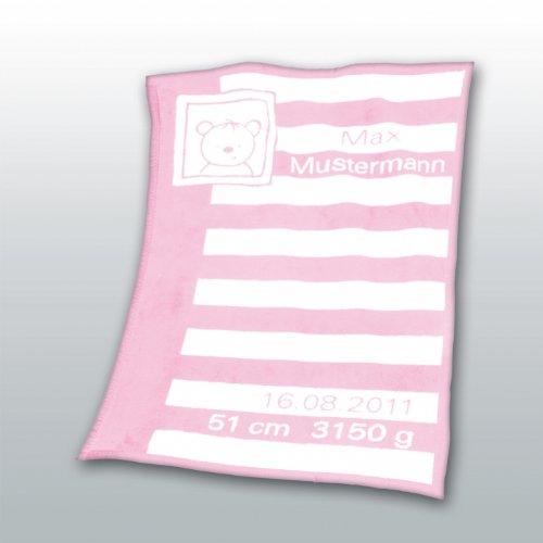 Herding 115022014 Baby coperta con data e i nomi Unicade 75 x 100 cm regalo perfetto per nascita o b