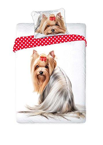 Unbekannt Faro Yorkshire Hund Welpe Best Friends Set Bett, Bettbezug 160 x 200 Einzelbett 100% Baumwolle Bettwäsche, Mehrfarben, 200 x 160 cm (Yorkshire Welpen)