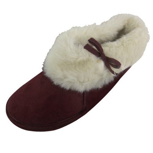 Damen Stiefeletten Knöchel Stiefel Wildlederimitat Slipper Schuhe Größe 36-41 - Weinrot, 39, Synthetik (Stiefel Damen Furry)