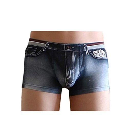 Amlaiworld Herren Baumwolle Spandex Jeans Boxer Reizwäsche, Schwarz, L