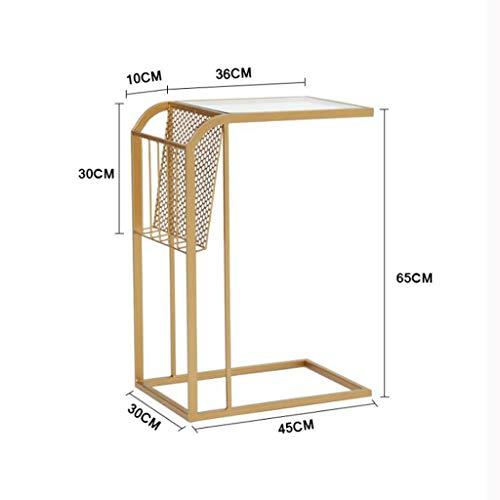 LYN Beistelltische, Schlafzimmer-Nachttisch, Abstellraum-Wohnzimmerdekorationstisch, gehärtetes Glas, Metalleisen (Farbe : Gold)