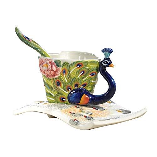 Kaffee- & Teegläser Kaffeetasse Tee Tasse Paar Pfau Keramik Tasse Untertasse Set Büro Herzförmigen Kaffeetasse Geschenk for Familie Und Freunde (Color : Green, Size : 9 * 6.2cm) Pfau Keramik