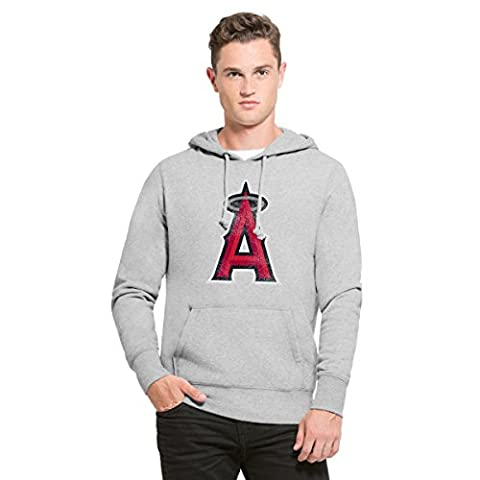 MLB Los Angeles Angels Men's '47 Knock Around Headline Pullover Hoodie, Slate Grey, Medium