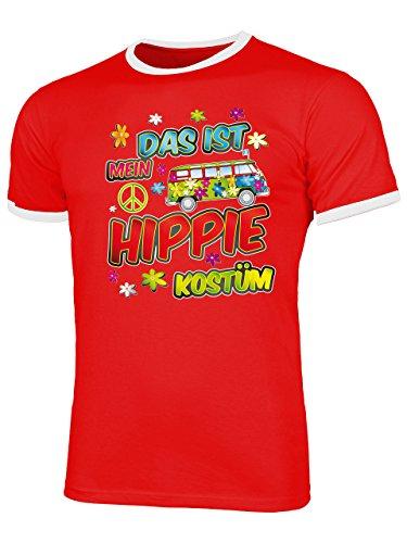Hippie Kostüm Männer T-Shirt Motto Schlager Party Karneval Fasching Geschenke Schlagertshirt Kleidung Gruppenkostüm Zubehör Brille Deko Jacke