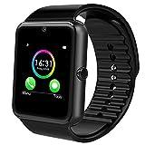 Jourist Smartwatch Sportuhr mit Bluetooth, Kamera, Fitness Tracker mit Schrittzähler, Touchscreen, SIM-Slot und Steckplatz für microSD-Karte (Schwarz)