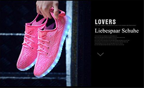 Aidonger Scarpe da corsa 7 colori alla moda carica LED luminoso Unisex da uomo donna Scarpe sportive LED EU35-EU46 rosa