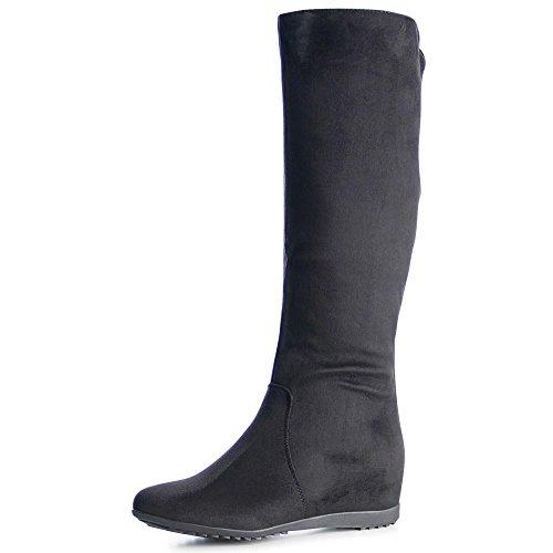 topschuhe24 1019 Damen Stiefel Boots Keilabsatz Glitzer Schwarz