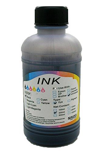 1 x Recarga de Tinta de color Negro de 200 ml Universal para Impresora de Inyección Hp Canon Lexmark Dell Epson Brother Samsung Oki Xerox