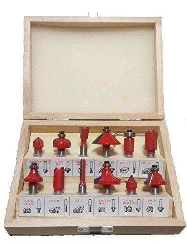 NRG Clever® RBS12-6 Kit de 12 cortadores para madera. Adecuado para enrutadores CNC y fresadoras con acoplamiento de 6 mm. Excelente para el uso aficionado