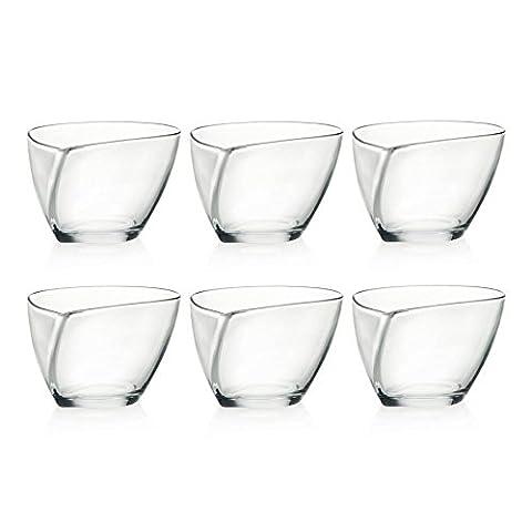 6 x RCR Crystal Glass Dessert Bowls Teardrop Shape Design