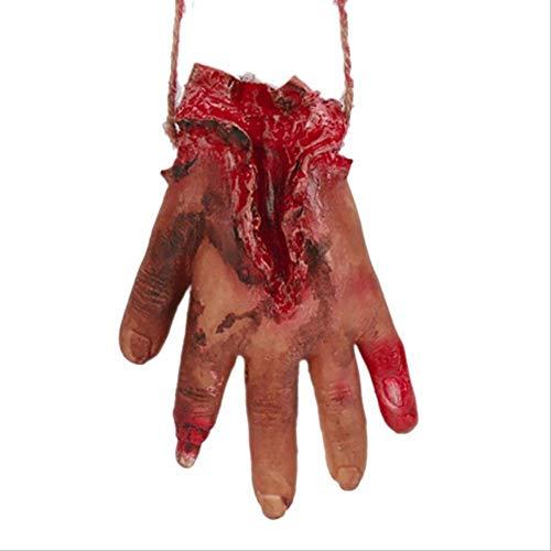 LXMK Halloween Gebrochene Hand und Fuß Abgetrennte Halloween-Dekoration Unheimlich Abgeschnitten Blutig Gefälschtes Latex Körperteile PartyzubehörHand mit Seil