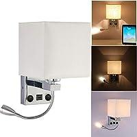 OurLeeme Lámpara de pared, lámpara de pared mesita de noche 2 en 1 con lámpara de lectura LED flexible para el dormitorio de la sala de estar (bombilla no incluida) (1 luz con USB)