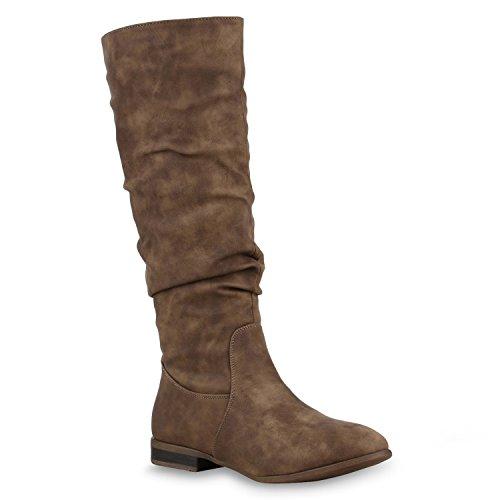 Gefütterte Damen Stiefel Klassische Langschaft Boots Khaki