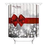 Godagoda Duschvorhang Weihnachten für Badezimmer Bunt Frohe Stoff Wasserdichte Badezimmer Rot Duschvorhang 150 * 180/180 * 180/180 * 200cm