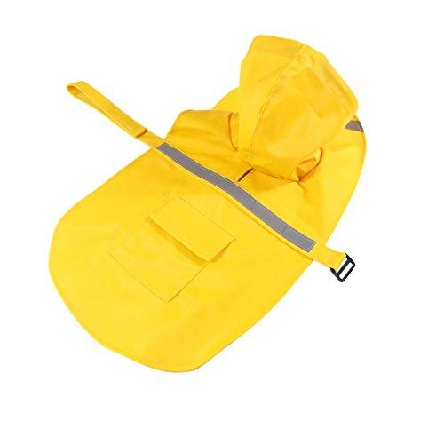 TiooDre Pet Jumpsuit Regenmantel Hunde Regenmäntel Wasserdichte Hunde Regenjacke mit Reflexstreifen GrÃße L Gelb