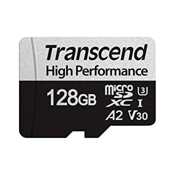Transcend USD330S - Tarjeta microSD de 128GB, SDXC, Clase 10, U3, V30, A2 (Lectura hasta 100 MB/s, Escritura hasta 85 MB/s)