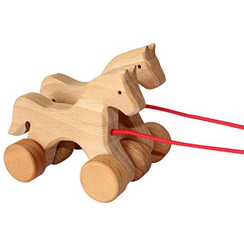 Spielzeug Holzpferde zum Ziehen - Pferdchen aus Holz mit Kordel für Kinder zum Spielen, Spaß haben und Sammeln - hervorragend verarbeitet Kinderspielzeug -