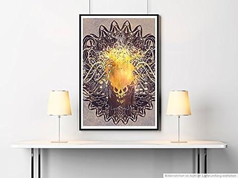 Sinus Art Kunst Leinwandbild - Bild – Goldener Totenkopf mit Ornamenten- Fotodruck in gestochen scharfer Qualität