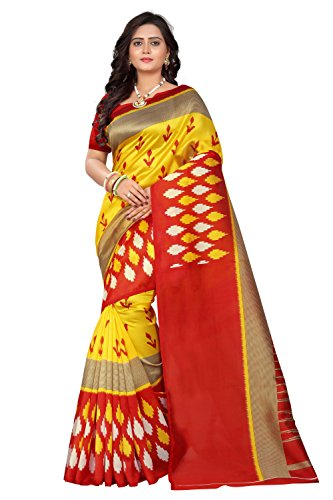 Jaanvi Fashion Art Silk Ikat Patola Kalamkari Printed Saree (Patola-Print-Red-Yellow)