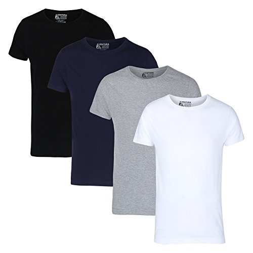 Aventura Outfitters Men's Round Neck Half Sleeve Multi Color Solid T-Shirts- Pack...