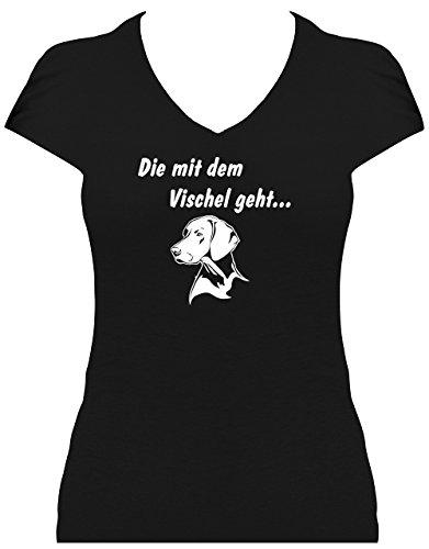 elegantes Shirt Damen Sprüche Hunde Magyar Vizsla Die mit dem Vischel geht, T-Shirt schwarz, Grösse L