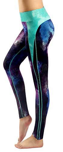 Sugar Pocket Womens Athletic Yoga Pants Printed Workout Yoga Leggings Fitness Tights