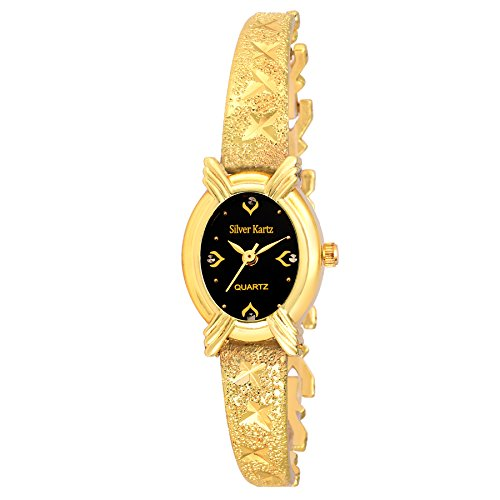 Silver Kartz Authentic Golden Black Diplomatic Analog Watch For Girls & Women (wtw-19)
