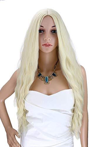 Kalyss 24 Zoll platinblondes lockiges welliges hitzebeständiges Haar Perücke für Frauen Mittelteil ohne Lace Front Haar Ersatz Perücken