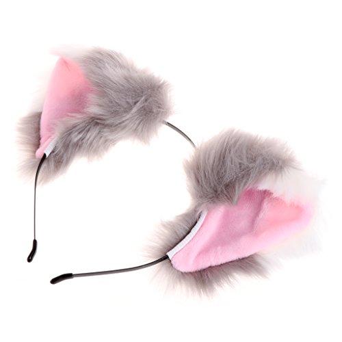 Preisvergleich Produktbild ECMQS Heißer Verkauf Frauen Mädchen Mode Plüsch Fuchs Katze Ohren Stirnbänder Haarschmuck (Grau + Weiß)