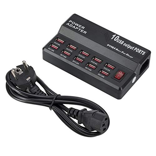 Masterein EU-Stecker 12A 12-Port-USB-Kabel Ladegerät HUB Multi USB-Ladestation Geschwindigkeit Smart-Ladeadapter (Usb-12-port-hub)