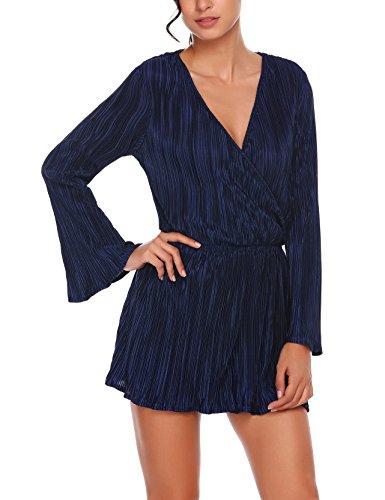 Parabler Damen Jumpsuit Sexy Wickeloptik V-Ausschnitt Langarm Overall Elegant Playsuit Strukturiertes Midikleid Spielanzug Marineblau