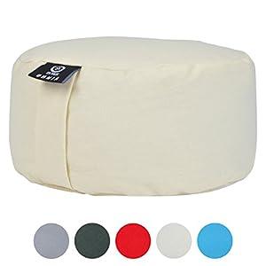 ZenPower Meditationskissen Omnia – Yogakissen Sitzhöhe: 15cm – Yoga Sitzkissen, Zafu-Kissen mit Buchweizen-Spreu Füllung, waschbarer Bezug 100% Feste Baumwolle