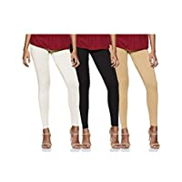 Longies Women's Leggings (Pack of 3) (LGLGSPO3001_White , Black , Beige_XL)