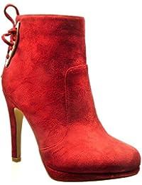 Angkorly - Zapatillas de Moda Botines low boots sexy mujer nodo metálico Talón Tacón de aguja alto 11 CM - Rojo