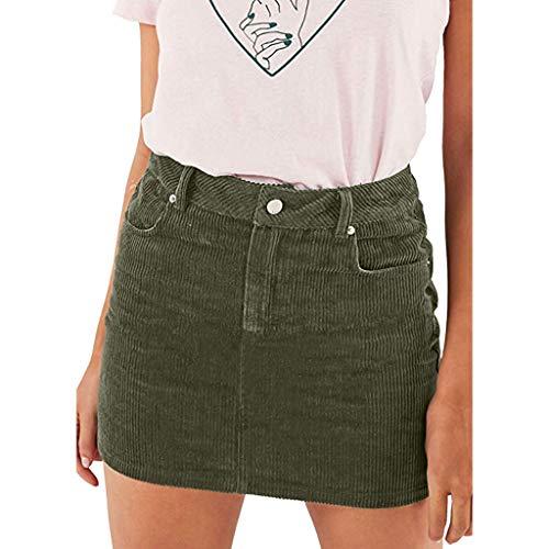 AMUSTER Damen lässige Retro-a-line Kord Minirock Knopfleiste Rock Frauen Sommer Sexy schlank Cord Bodycon-Bleistiftrock mit hoher Taille -