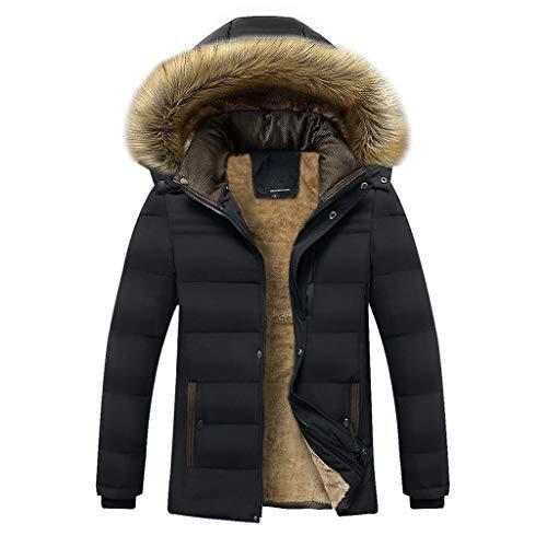 Yazidan Unisex Frau MäNner Outdoor Pelz Wollvlies Warm Winter Lange Kapuze Mantel Jacke Herrenmantel WäRmemantel Winterjacke Coat Wintermantel Herren Langen Warme Graben Outwear(Schwarz,XL)