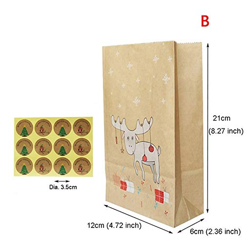 Bags & Wrapping Supplies - 12pcs Fox Moose Snowflake Gift Paper Bag Christmas Kraft Stickers Xmas Candy Food Cookies Packing - & Fox Packaging Fox Bag Doll Packag Bag Party Cream Bag Box Fox Wome (Candy Doll)