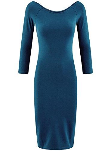 oodji Ultra Damen Enges Kleid mit U-Boot-Ausschnitt Blau (7901N)