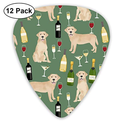 Yellow Lab Wine Labrador Retriever Dog Breed Green Classic Celluloid Picks, 12-Pack, For Electric Guitar, Acoustic Guitar, Mandolin, And Bass Green Lobster Fork