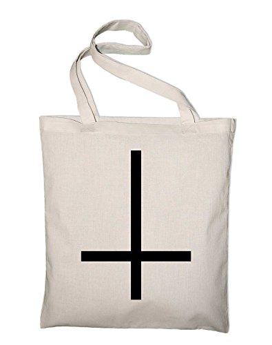 Umgedrehtes Kreuz Inverted Cross Jutebeutel, Beutel, Stoffbeutel, Baumwolltasche, schwarz Natur