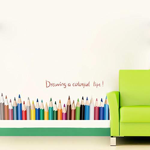 Runinstickers Wandaufkleber Kreative Bleistiftzeichnung Baseboard Wall Sticker Zeichnung EIN Buntes Leben Kinder Zimmer Balkon Schlafzimmer Dekoration Endergebnis Aufkleber